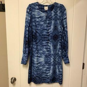 Reiss Tie Dye Dress Watercolor Blue Keyhole 4